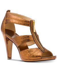 Michael Kors - Brown Michael Berkley T-strap Dress Sandals - Lyst