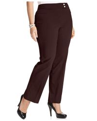 Style & Co. | Brown Plus Size Tummy-control Straight-leg Trousers | Lyst