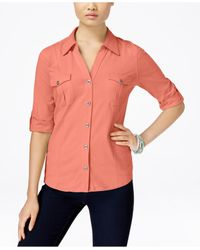 Style & Co. | Pink Utility Shirt, Only At Macy's | Lyst