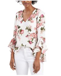 Vince Camuto Multicolor Rose-print Flutter-sleeve Top