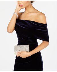Vince Camuto Blue Velvet Off-the-shoulder Gown