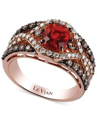 Le Vian - Brown 14k Rose Gold Ring, Fire Opal (3/4 Ct. T.w.), Chocolate (5/8 Ct. T.w.) And White Diamond (1/2 Ct. T.w.) Ring - Lyst