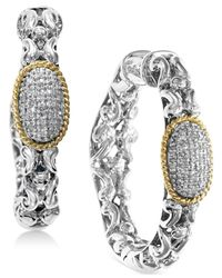 Effy Collection Metallic Diamond Cluster Chain Hoop Earrings (1/5 Ct. T.w.) In Sterling Silver & 18k Gold