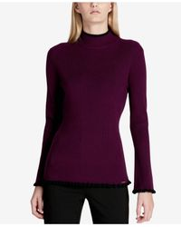 Calvin Klein - Purple Piped Mock Neck Sweater - Lyst