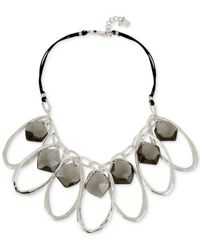 Robert Lee Morris - Metallic Silver-tone Black Stone Large Link Statement Necklace - Lyst