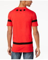 Sean John Red Men's Pieced-stripe Star-print T-shirt for men