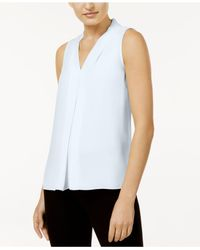 Vince Camuto Blue Sleeveless Inverted-pleat Blouse