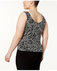 Alex Evenings - Black Plus Size Printed Mandarin Jacket And Shell - Lyst
