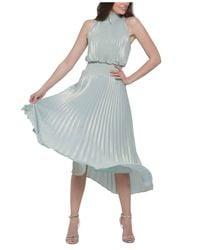 Xscape Pleated Metallic Midi Dress