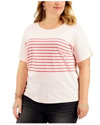 Style & Co. Pink Plus Size Cotton Drop-shoulder T-shirt, Created For Macy