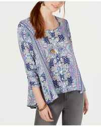 Style & Co. Blue Petite Printed Swing Blouse, Created For Macy