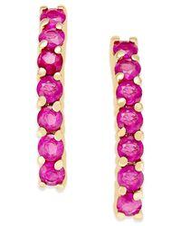 Macy's - Purple Ruby Studded Linear Drop Earrings (1-3/8 Ct. T.w.) In 14k Gold - Lyst