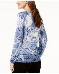 INC International Concepts Blue I.n.c. Printed Knot-front Blouson Top, Created For Macy's