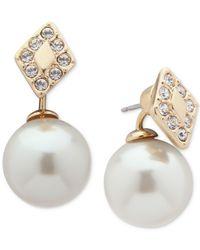 Ivanka Trump Metallic Gold-tone Pavé & Imitation Pearl Front-back Earrings