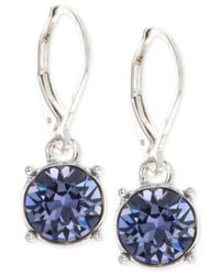 Anne Klein - Purple Swarovski Crystal Drop Earrings - Lyst