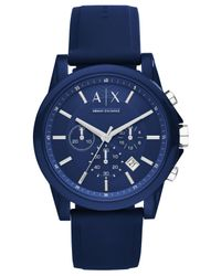 Armani Exchange - Unisex Chronograph Blue Silicone Strap Watch 44mm Ax1327 - Lyst