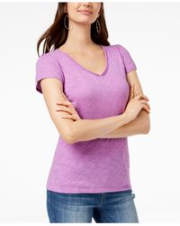 INC International Concepts Purple I.n.c. Cotton V-neck T-shirt, Created For Macy's