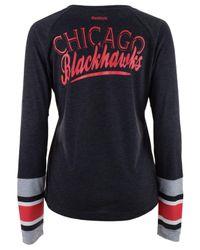 Reebok Black Women's Stripe Henley Long Sleeve T-shirt