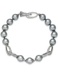 Danori - Metallic Hematite-tone Pavé & Gray Imitation Pearl Bracelet - Lyst