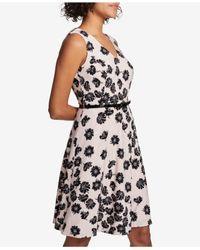 Tommy Hilfiger - Black Floral-printed Belted Fit & Flare Dress - Lyst