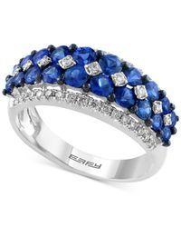 Effy Collection - Blue Sapphire (1-3/4 Ct. T.w.) And Diamond (1/3 Ct. T.w.) Ring In 14k White Gold - Lyst
