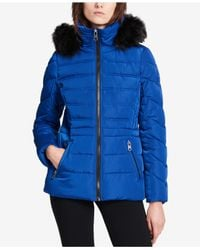CALVIN KLEIN 205W39NYC - Blue Performance Faux-fur-trimmed Hooded Puffer Coat - Lyst