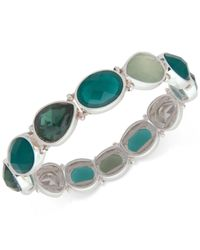 Nine West - Metallic Silver-tone Green Stone Stretch Bracelet - Lyst