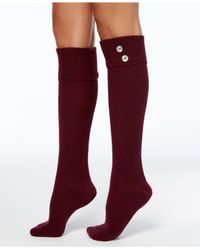 Hue Red Women's Button Ribbed Knee-high Socks