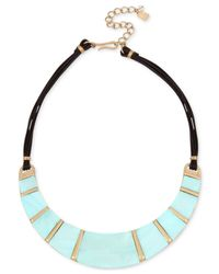 "Robert Lee Morris - Blue Gold-tone Imitation Mother-of-pearl & Leather Statement Necklace, 15"" + 3"" Extender - Lyst"