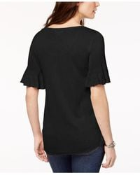 Style & Co. - Black Scoop-neck Bell-sleeve Sweater, Created For Macy's - Lyst
