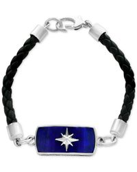 Effy Collection - Metallic Men's Lapis Lazuli (27 X 11mm) Braided Leather Bracelet In Sterling Silver for Men - Lyst