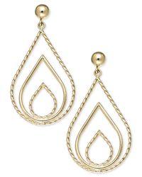 Macy's - Metallic 10k Gold Earrings, Polished And Rope Triple Teardrop Earrings - Lyst
