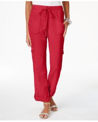 INC International Concepts | Red Curvy Roll-tab Cargo Pants | Lyst