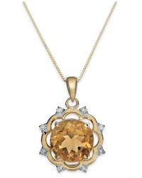 Macy's - Metallic Citrine (3-1/2 Ct. T.w.) And Diamond (1/8 Ct. T.w.) Pendant Necklace In 14k Gold - Lyst