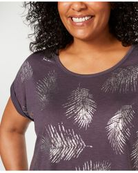 Style & Co. Purple Plus Size Printed Cuffed-sleeve T-shirt, Created For Macy's