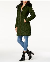 new specials provide plenty of fashion style of 2019 Guess Synthetic Faux-fur-trim Diamond-quilted Puffer Coat in ...