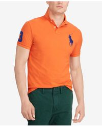 Polo Ralph Lauren Orange Big Pony Custom Slim Fit Mesh Polo, Created For Macy's for men