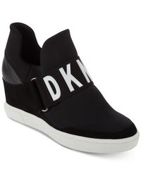 DKNY Black Cosmos Logo Hidden Wedge Slip On Sneakers
