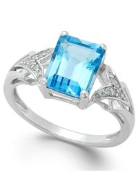 Macy's Emerald-cut Blue Topaz (2-1/2 Ct. T.w.) And Diamond Accent Ring In 14k White Gold