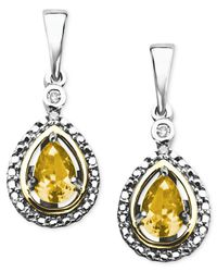 Macy's Metallic 14k Gold And Sterling Silver Earrings, Citrine (3/4 Ct. T.w.) And Diamond Accent Teardrop Earrings