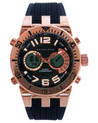 Sean John Men's Analog-digital Black Silicone Strap Watch 60x45mm 10018066 for men