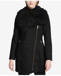 CALVIN KLEIN 205W39NYC - Black Asymmetrical Faux-fur-trim Coat - Lyst