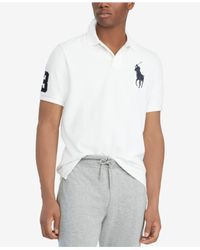 Polo Ralph Lauren White Big & Tall Classic Fit Big Pony Mesh Cotton Polo for men
