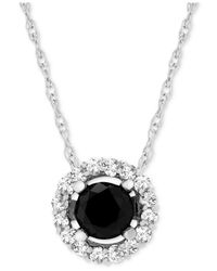 """Macy's Metallic Wrapped In Lovetm Diamond Halo 18"""" Pendant Necklace (1 Ct. T.w.) In 14k White Gold, Created For"""