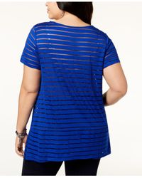 INC International Concepts - Blue I.n.c. Plus Size Illusion-striped Top, Created For Macy's - Lyst