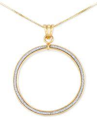 Macy's | Metallic Swarovski Zirconia Glitter Hoop Pendant Necklace In 14k Gold | Lyst