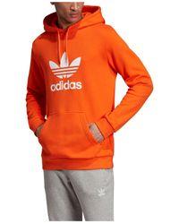 Adidas Orange Originals Adicolor Trefoil Hoodie for men
