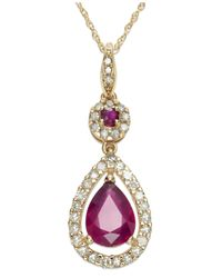 Macy's | Pink 14k Rose Gold Necklace, Ruby (1-1/3 Ct. T.w.) And Diamond (1/3 Ct. T.w.) Pear Drop Pendant | Lyst