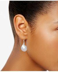Macy's - Cultured White Baroque Freshwater Pearl (12mm) & Diamond (1/6 Ct. T.w.) Drop Earrings In 14k White Gold - Lyst