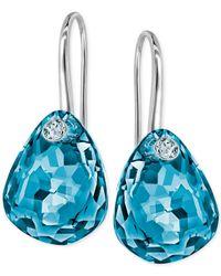 Swarovski - Blue Multi-faceted Crystal Drop Earrings - Lyst